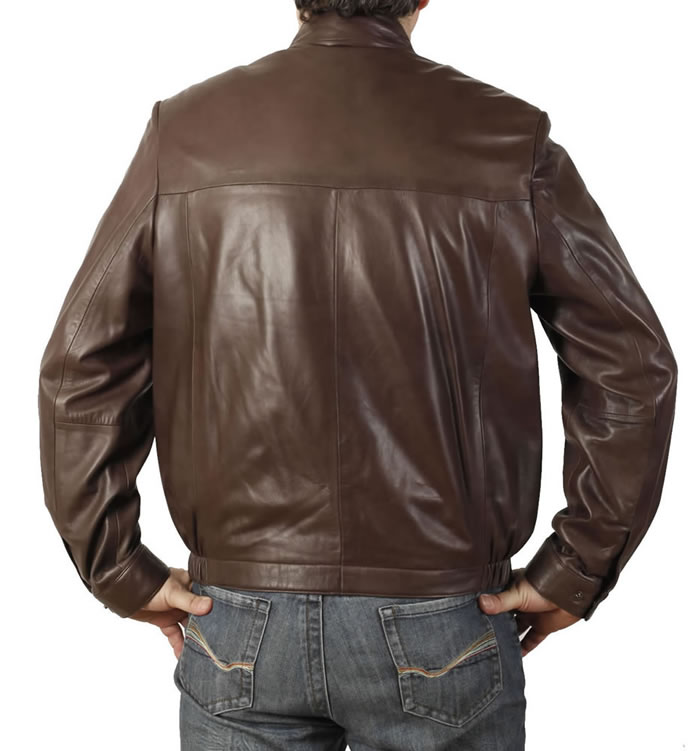 SL1132 - Mens 'Stand-up' Collar Fine Brown Leather  Blouson