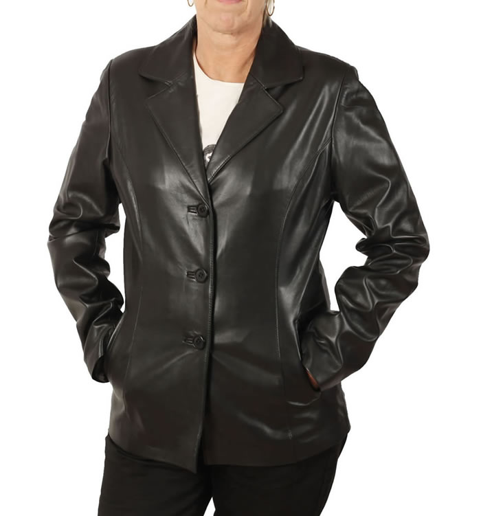 Hip Length Ladies Black Leather Blazer - SL1145