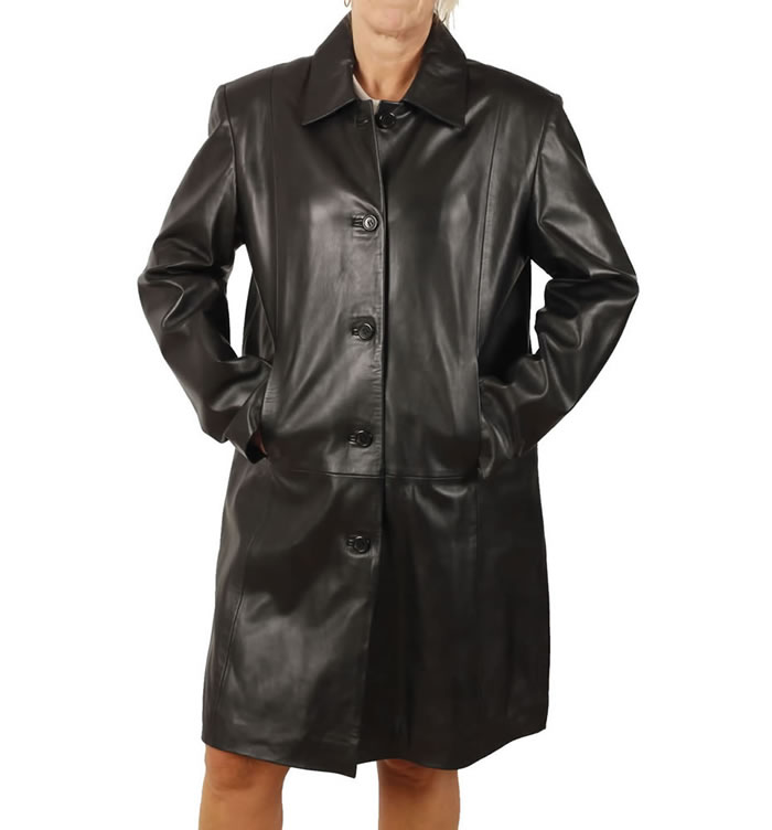 Ladies Knee Length Black Leather Coat - SL1146