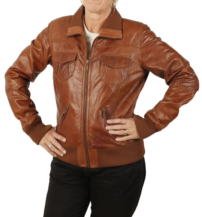 Hip Length Antique Tan Ladies Bomber Jacket - SL1317