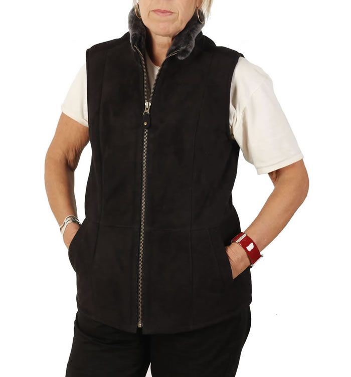 Traditional Suede Finish Ladies Sheepskin Gillet In Black - SL1265SB