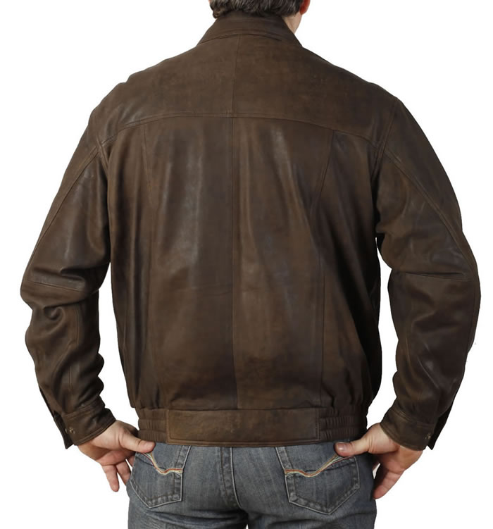 SL1013 - Mens Brown Buff Leather Blouson