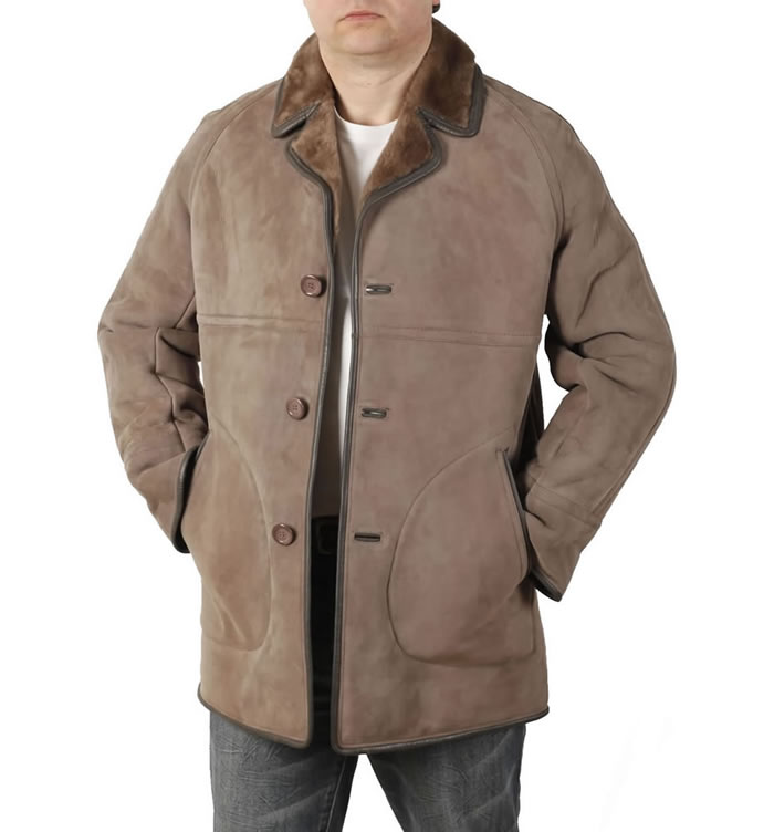 Mens Classic Sheepskin Coat In Taupe (SL1174) dca81c555