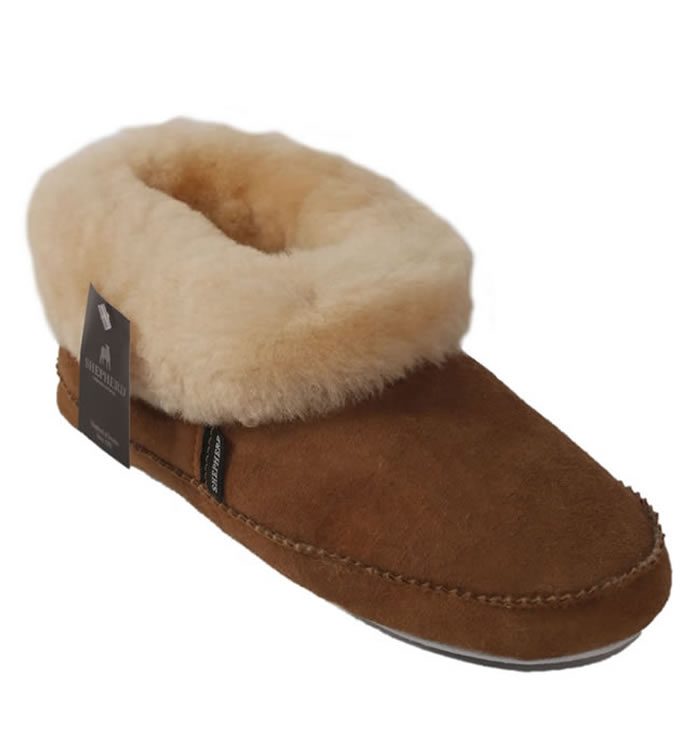 Shepherd Emmy Cuffed Ladies Soft Soled Chestnut Sheepskin Bootie Slipper - SL61213