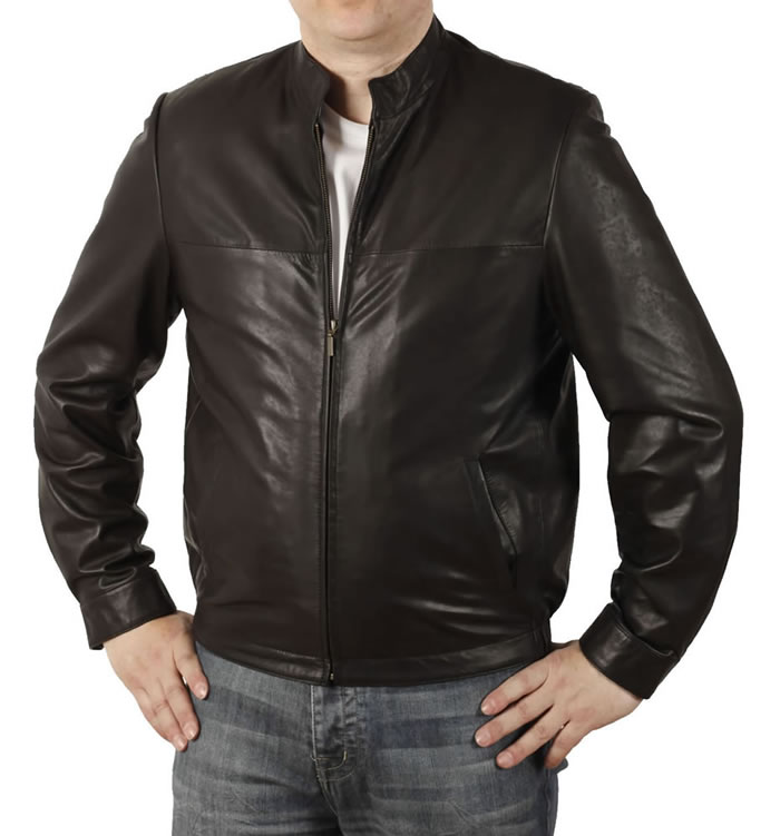 Mens 'Stand-up' Collar Fine Black Leather Blouson - SL11321