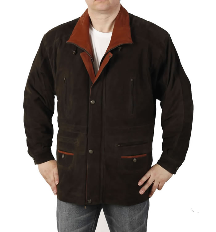 "Gents 3/4 Length Brown/Tan Nubuck Leather ""Parka"" Leather  Coat - SL11031"