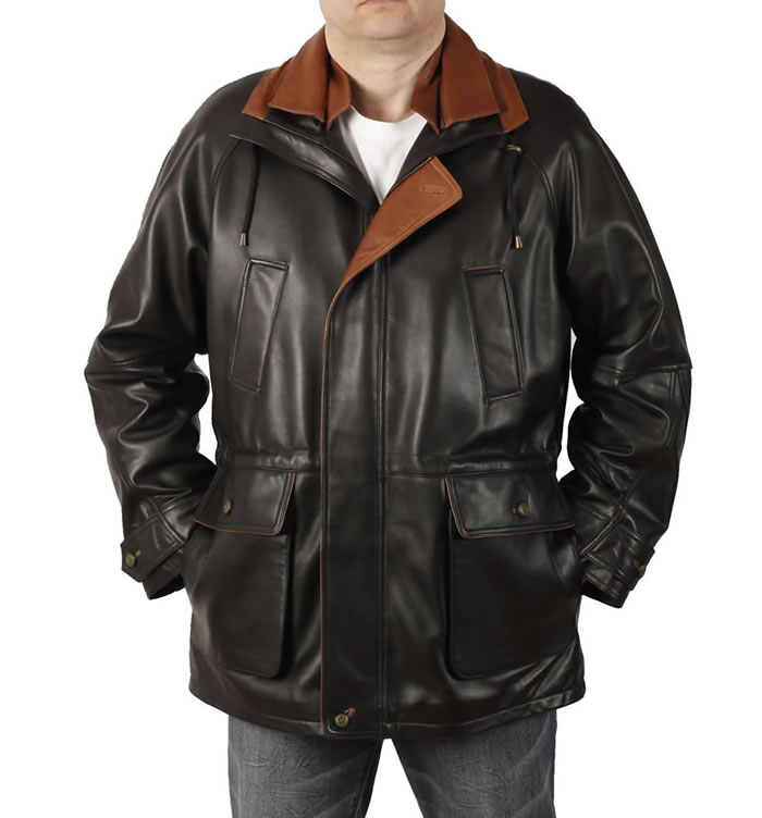 SL12094 - Easy-Fit 3/4 Length Black Leather Coat With Tan Trim