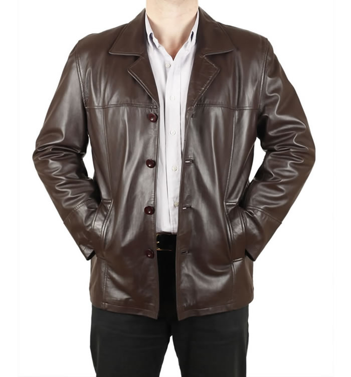 Gents Chocolate Brown Four- Button Leather Jacket - SL11301