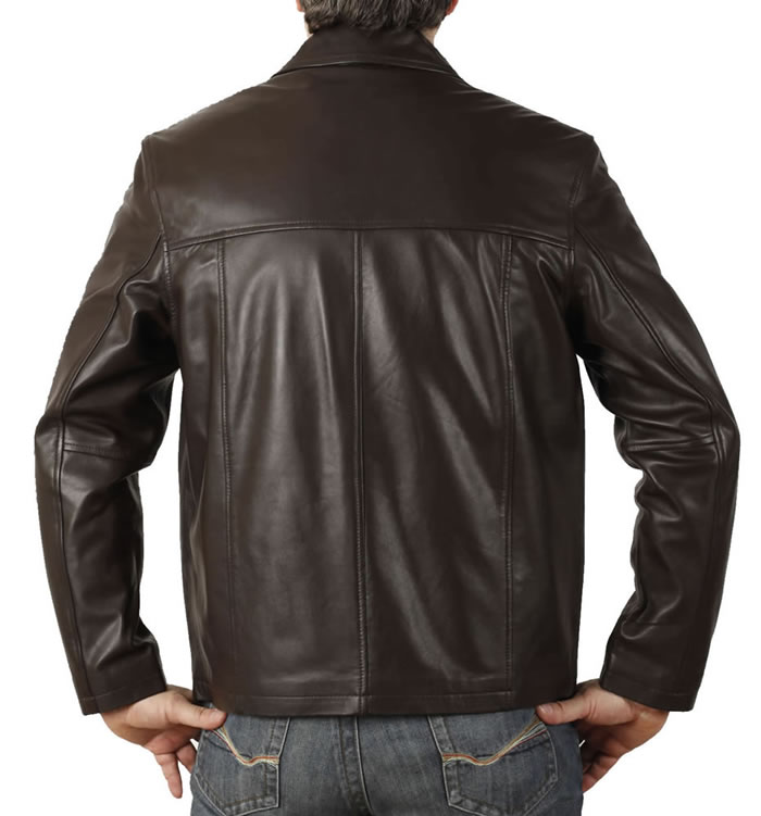 SL11141 - Mens Plain Style Brown Leather Jacket