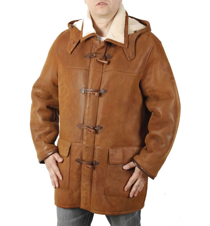 "Mens Whisky ""Nappalamb"" Sheepskin Duffle Coat - SL1170"
