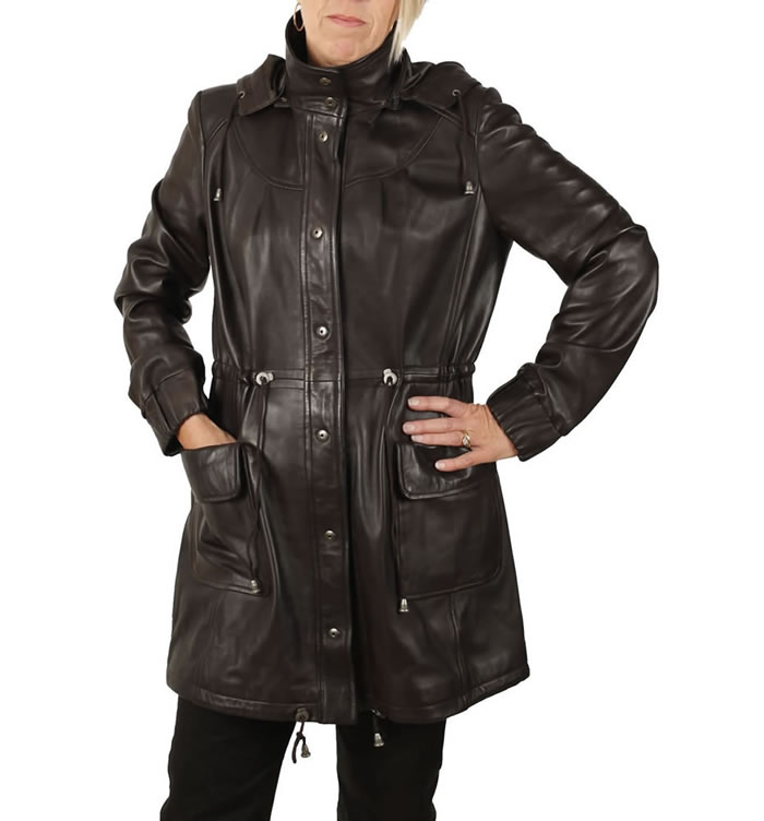 Ladies 3/4 Brown Leather Hooded  Parker - SL11912