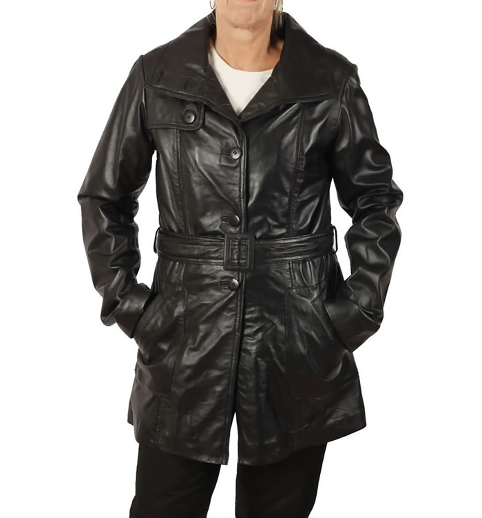 Ladies Tie-Belt  3/4 Black Leather Trench - SL11751