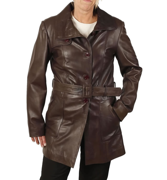 Ladies Tie-Belt  3/4 Brown Leather Trench - SL11752