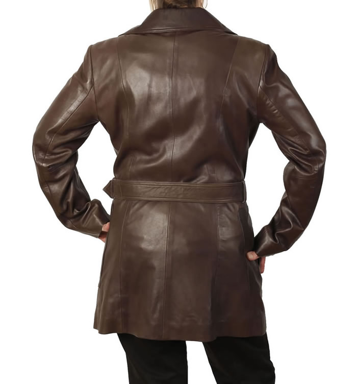 SL11752 - Ladies Tie-Belt  3/4 Brown Leather Trench