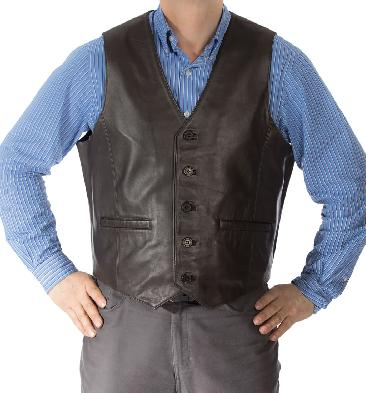 Classic Brown Leather Waistcoat - SL11491