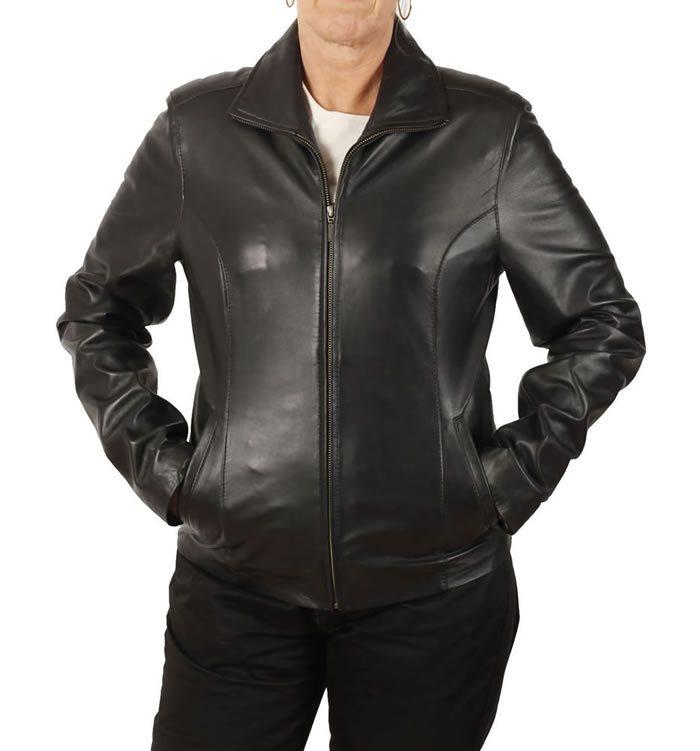 Ladies Semi Fitted Black Leather Zip Jacket - SL11011