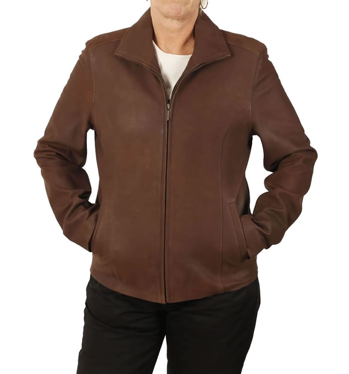 "Ladies Semi-Fitted ""Coco Buff"" Leather Zip Jacket - SL11012"