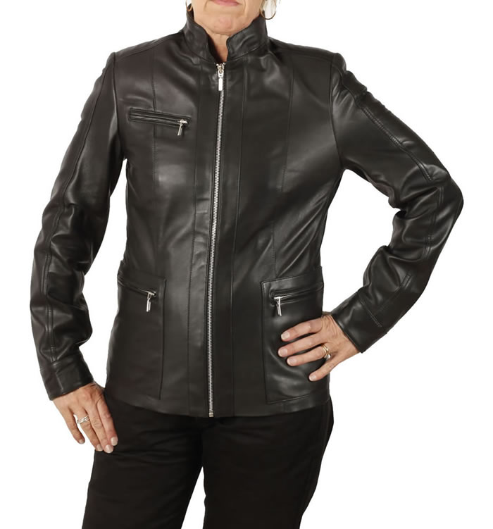SL1300BK - Ladies Hip Length  Black Leather Zip Jacket