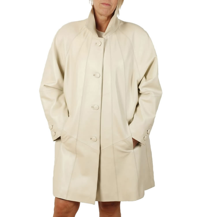 3/4 Length Ivory Leather 'Swing' Coat - SL1106