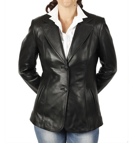 Hip Length And Shaped Ladies Black Leather Blazer