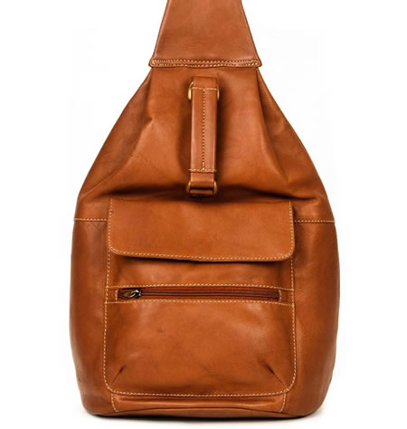 Large Size Antique Tan Leather Rucksack