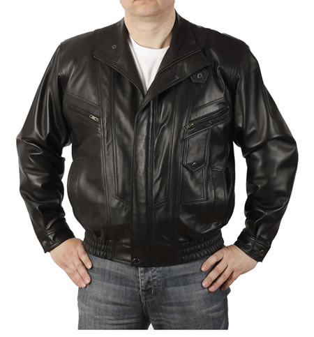 Mens Easy-Fit Blouson Style Black Leather Jacket
