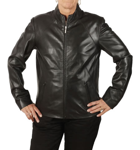 SL1185 - Ladies Semi-Fitted Hip Length Black Leather Biker Jacket