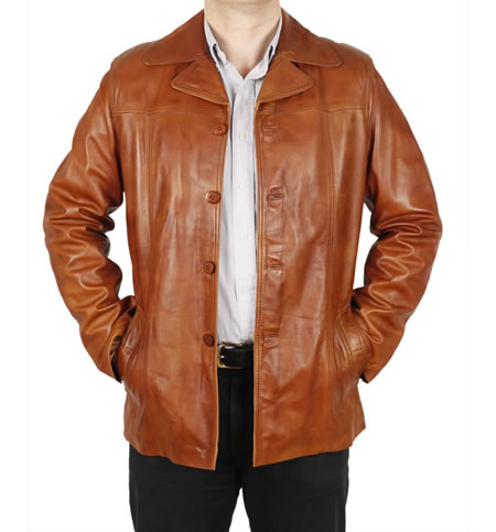 SL1155T - Button-Up  Retro Style Leather  Jacket