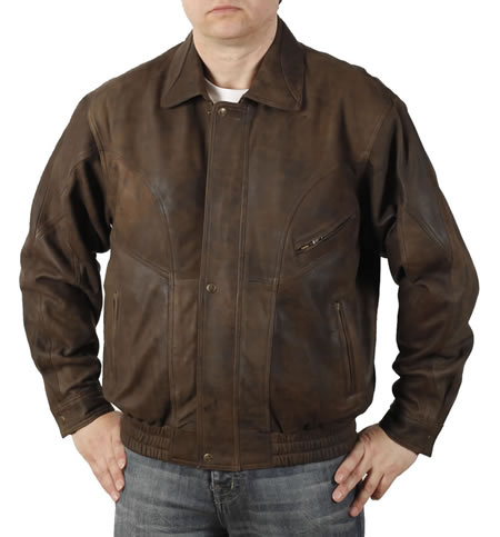 Mens Brown Buff Leather Blouson