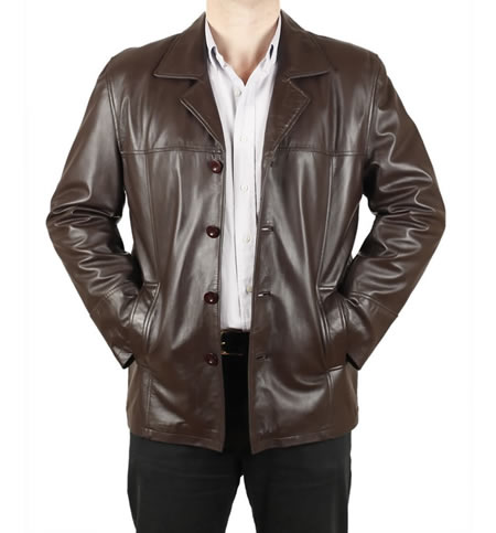 Brown Leather Jacket Button