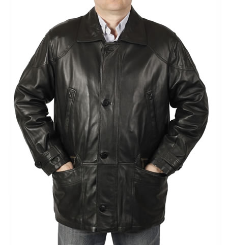 SL11312 - Gents 3/4 Length Black Leather Coat
