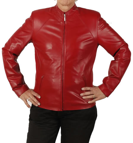 SL11851 - Ladies Semi-Fitted Hip Length Red Leather Biker Jacket