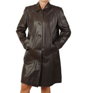 Ladies Knee Length Brown Leather Coat - SL11461