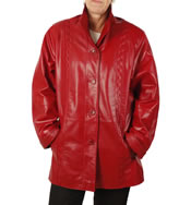 Ladies Broad Fitting  3/4 Red Leather Jacket With Inlaid Detail - SL13411