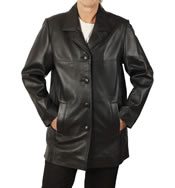 Ladies Simple Style 3/4 Black Leather Jacket - SL11464