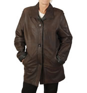 Ladies Brown Buff Leather 3/4 Jacket With Black Trim  - SL11681