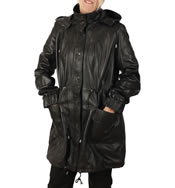 Ladies 3/4 Black Leather Hooded  Parker - SL11913