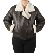 Ladies Cross Zip Cropped Sheepskin Flying Jacket - SL11591L