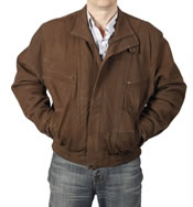 "Mens Easy-Fit Blouson Style In ""Coco"" Buff"" Leather Jacket - SL1113T"