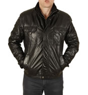Safari Style Black Leather Zip Jacket With Detachable Collar Scarf - SL100262