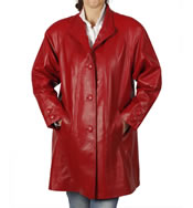 3/4 Length Red Leather 'Swing' Coat - SL11061