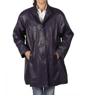 3/4 Length Purple Leather 'Swing' Coat - SL11065