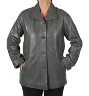Ladies Broad Fitting  3/4 Grey Leather Jacket With Inlaid Detail - SL13413