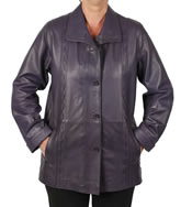 Ladies Broad Fitting  3/4 Purple Leather Jacket With Inlaid Detail - SL13414