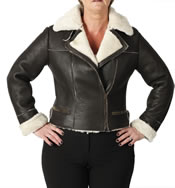 Ladies Cross Zip Cropped Shaped Sheepskin Flying Jacket - SL11592L