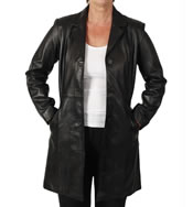 Ladies Semi-Fitted Style 3/4 Black Leather Jacket - SL11465