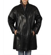 3/4 Length Black Leather 'Swing' Coat - SL11064