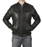 Black Leather Pocketed Biker Jacket - SL10122