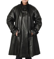 Flared  Black Leather Swing Coat With Suede Inlay - SL1345