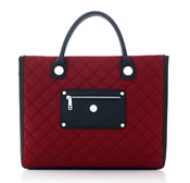 """Aurora"" Red Quilted Nylon Expandable Tote Style Workbag - SL80141"